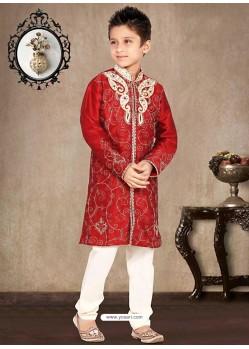 Charming Red Churidar Sherwani