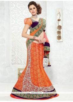 Orange Gold Zardosi Work Net Lehenga Saree