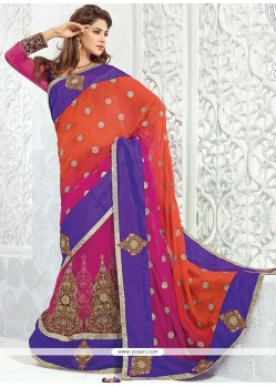 Best Net Embroidered Work Lehenga Saree