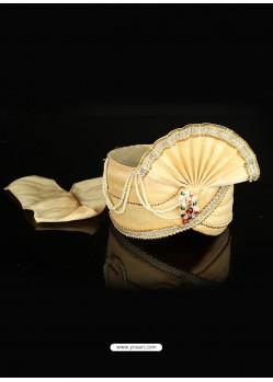 Flattering Beige Dupioni Raw Silk Wedding Turban
