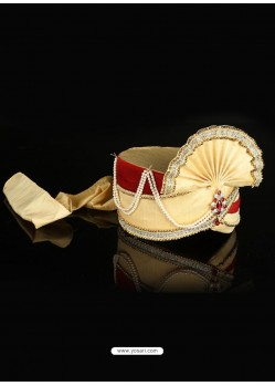 Classy Beige Dupion Raw Silk Wedding Turban For Men