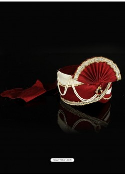 Trendy Red Dupioni Raw Silk Turban For Men