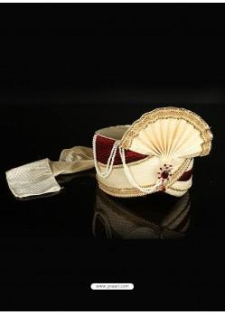Charming Beige Dupioni Raw Silk Wedding Turban For Men
