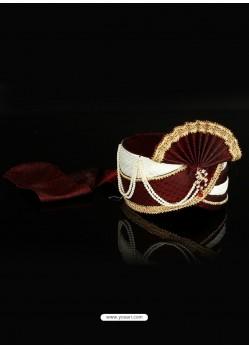 Awesome Maroon Dupioni Raw Silk Wedding Turban