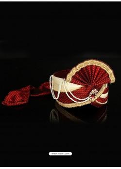 Maroon Dupioni Raw Silk Wedding Turban For Men