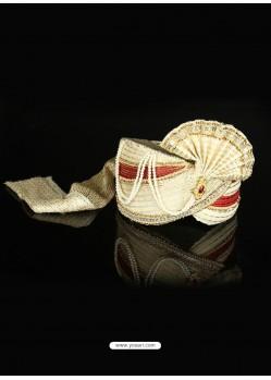 Classy Cream Net Wedding Turban For Men