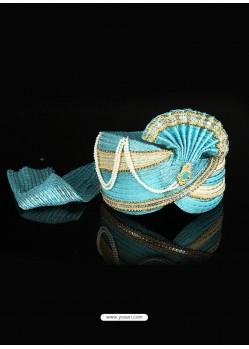 Stylish Blue Net Wedding Turban