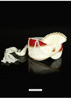 White Color Net Wedding Turban For Men