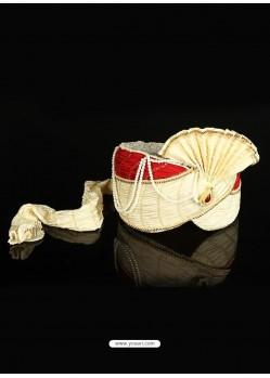 Cream Net Wedding Turban For Men