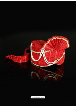 Excellent Red Color Net Wedding Turban