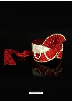 Impressive Red Color Net Wedding Turban For Men