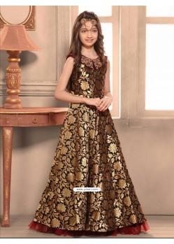 Blooming Taffeta Jacquard Indo-Western Dress