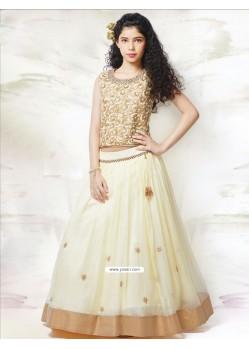 Girlish Cream Mononet N Silk Dress