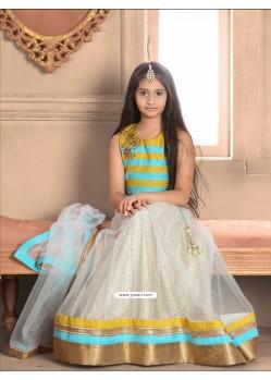 Groovy Blue N Pink Bhagalpori Silk Dress