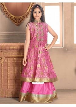 Magenta Taffeta Jacquard Indo-Western Dress