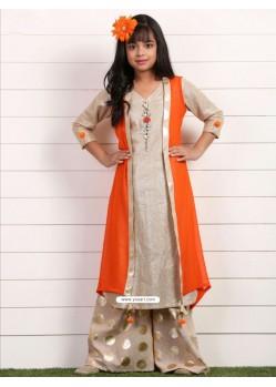 Demure Orange Georgette Dress