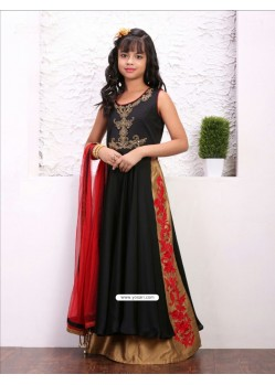 Glossy Black Taffera Silk Dress