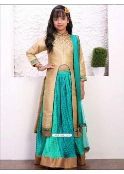 Festive Goldish Teal Green Banglory Silk Dress