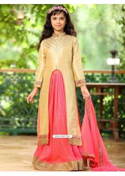 Traditional Goldish Pink Banglory Silk Dress