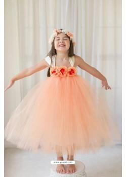 Demure Light Orange Evening Gown