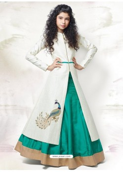 Sizzling Cream-Teal Green Indo-Western Dress