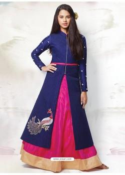 Gorgeous Blue-Magenta Indo-Western Dress