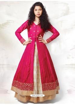 Flattering Magenta Banglory Silk Dress