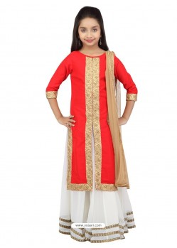 Sizzling Red-White Banglory Silk Lehenga Choli