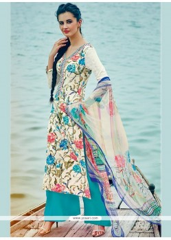 Distinctively Cotton Embroidered Work Palazzo Suit