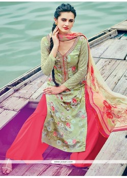 Desirable Multi Colour Embroidered Work Palazzo Suit