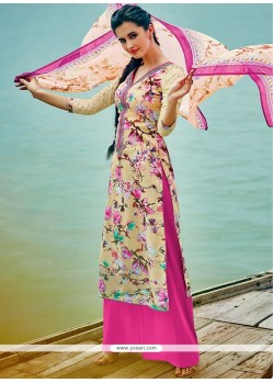 Topnotch Embroidered Work Pink Cotton Palazzo Suit