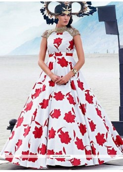Red And White Fancy Fabric Print Work Designer Gown