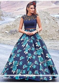 Navy Blue Fancy Fabric Print Work Designer Gown