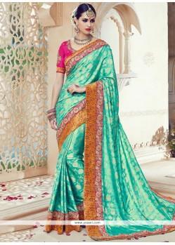 Sea Green Embroidered Work Art Silk Traditional Saree