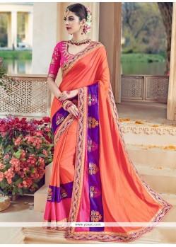 Delectable Art Silk Orange Designer Traditional Saree