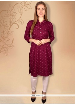 Exceptional Maroon Plain Work Faux Crepe Casual Kurti