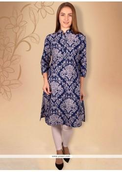 Blissful Print Work Cotton Blue Casual Kurti