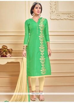 Thrilling Chanderi Cotton Green Embroidered Work Churidar Suit