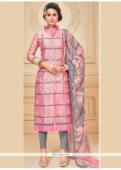 Absorbing Chanderi Cotton Pink Embroidered Work Churidar Suit