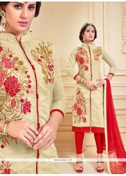 Dazzling Chanderi Cotton Churidar Suit