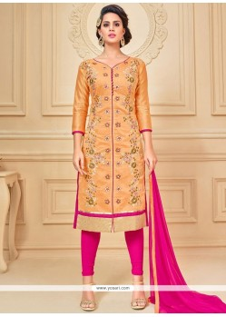 Sensible Hot Pink And Peach Lace Work Chanderi Cotton Churidar Suit