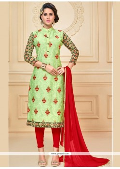 Haute Green And Red Chanderi Cotton Churidar Suit