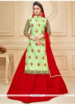 Strange Green And Red Embroidered Work Chanderi Cotton Long Choli Lehenga