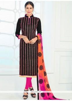 Masterly Black Lace Work Cotton Churidar Suit