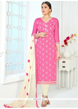 Delectable Cotton Embroidered Work Churidar Suit