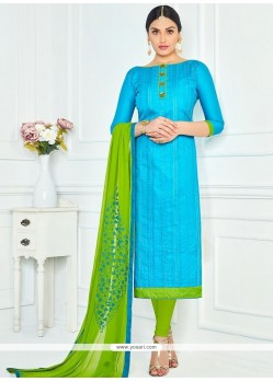 Orphic Lace Work Cotton Blue And Green Churidar Suit