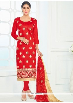 Imperial Red Cotton Churidar Suit