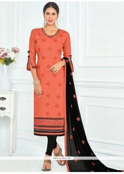 Tempting Lace Work Orange Cotton Churidar Suit