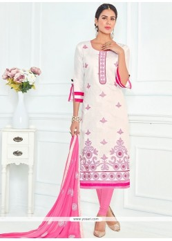 Sterling Pink And White Cotton Churidar Suit