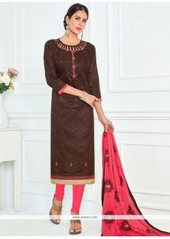Floral Brown Churidar Suit